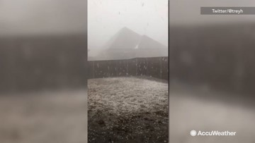 Hail slams northern Texas during severe storms