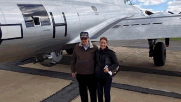 WWII pilot's daughter surprised him with ride in B-17 plane for 90th birthday