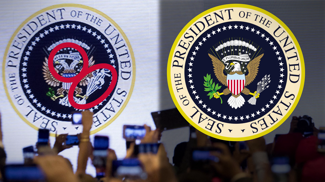 """VERIFY: Yes, a fake """"Presidential Seal"""" was put up behind Trump at a recent speech"""
