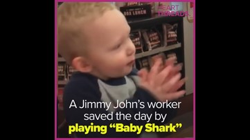 Teen helps mom calm fussy baby with 'Baby Shark'