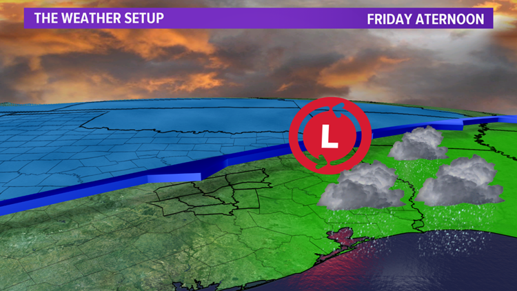 Weather setup Friday afternoon
