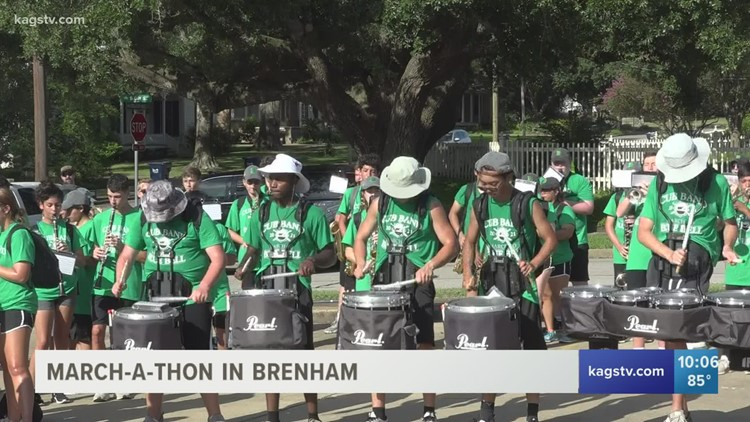 The Brenham Club Band marches five miles in annual march-a-thon
