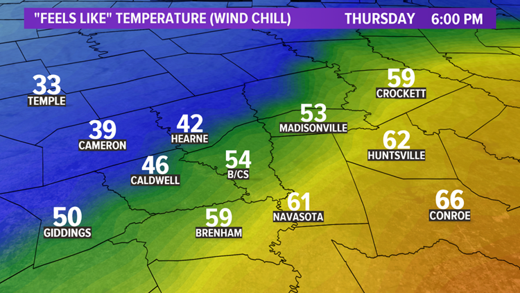 Feels-like temperatures Thursday at 6 pm