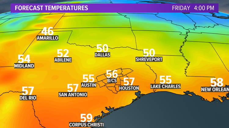 Friday afternoon temperatures