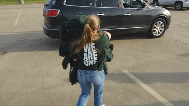 """Franklin ISD Student Body President Zoey Barnes Carrying """"Franklin Strong"""" shirts"""
