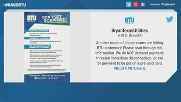 Bryan Texas Utilities warns of local phone scam