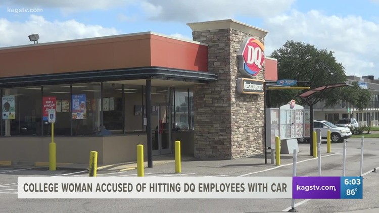 College Station woman accused of hitting Dairy Queen worker with her car after