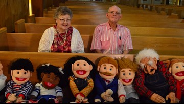 'We've been called to do this': Bryan couple brings puppet show to the pews of local church
