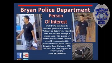 Bryan PD needs your help identifying this fraudulent gift card user