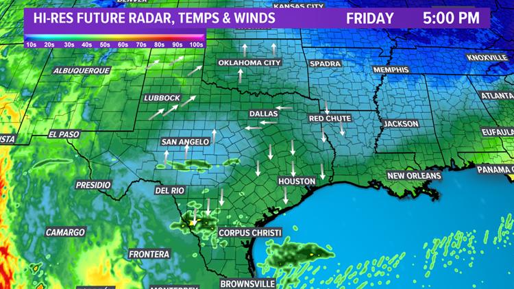 Future radar Friday at 5:00 pm
