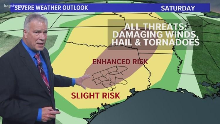 Rain possibilities continue. Tornado Watch expires for Brazos Valley.