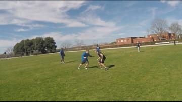 KAGS Sports tries out for the Blinn football team
