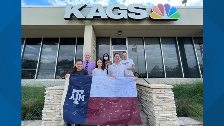 Special A&M flag and treasured Van Halen guitar stops by KAGS studio