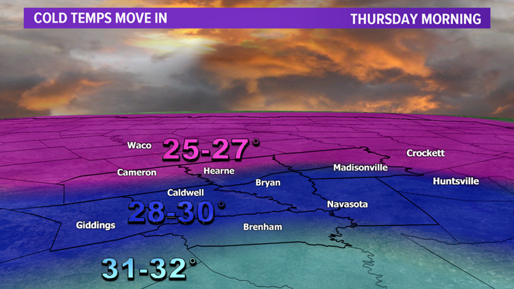 Strong cold front knocks temps into the 20s but a big warming trend by the weekend