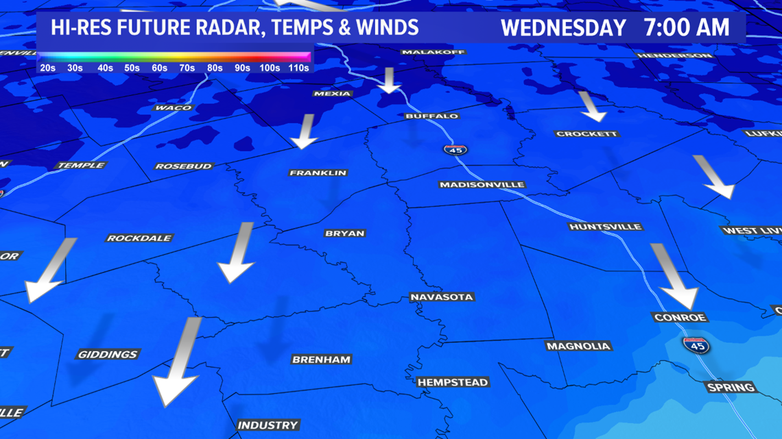 Wednesday forecast for the Brazos Valley