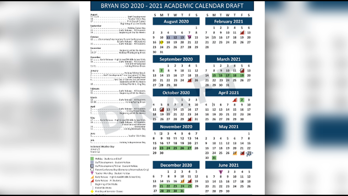 Bryan ISD adding eight days to 2020 2021 academic calendar