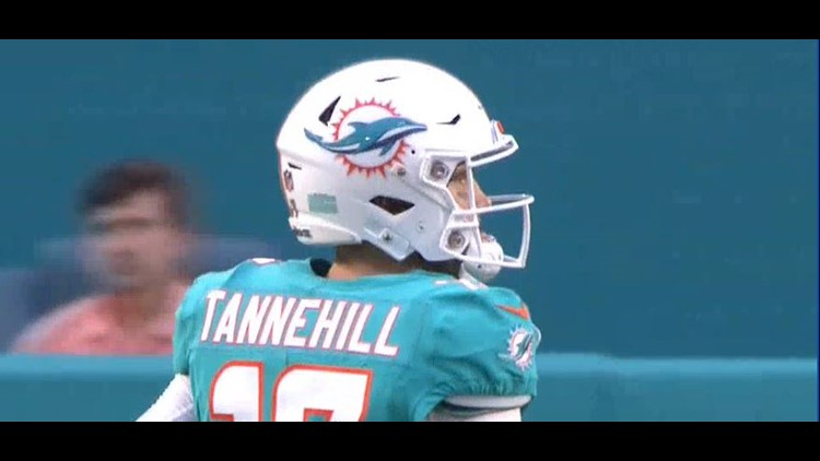 Ryan Tannehill completed passes on the first four plays in his return from two serious injuries to his left knee.