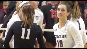 A&M volleyball outlasts LSU on senior day