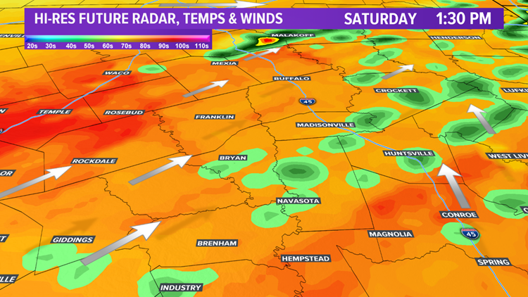 Future radar & temps 1:30 pm Saturday