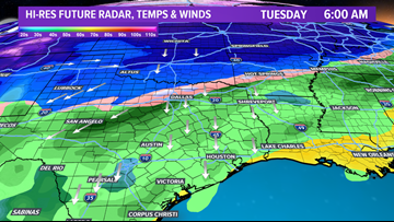 Frigid air moving into the Brazos Valley late-Monday with accumulating snow across parts of Texas