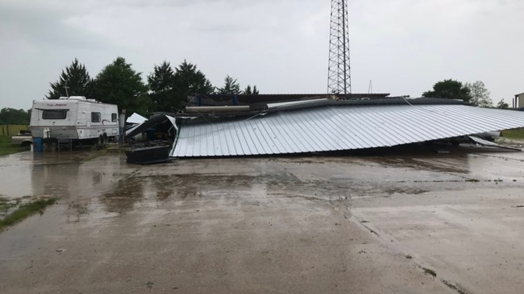 Storm damage near Franklin, TX where tornado was confirmed Saturday