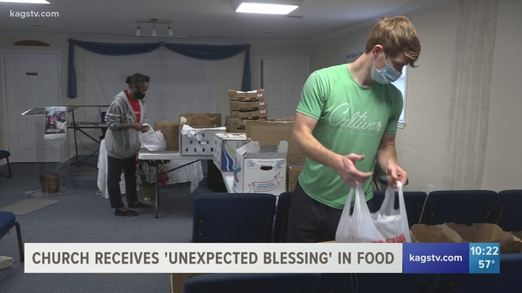 Last minute plans prompts College Station church to hand out food to those in need