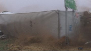 WATCH: Terrifying video of out-of-control semi busting through crash scene in Lubbock County