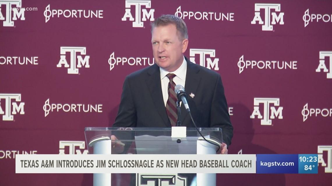 Jim Schlossnagle introduced as new Texas A&M baseball coach