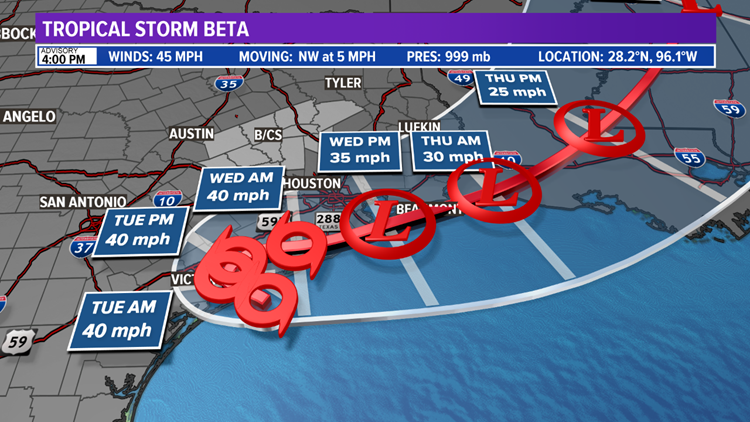 Tropical Storm Beta to impact northwestern Gulf of Mexico