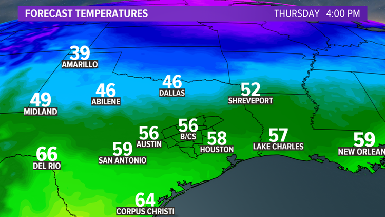 Thursday afternoon regional temperatures