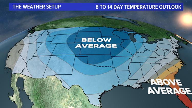 Days 8 through 14 temperature outlook (CPC)