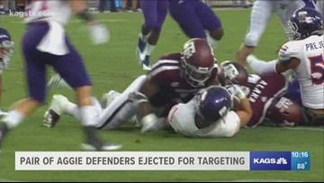 Aggie defenders ejected for targeting