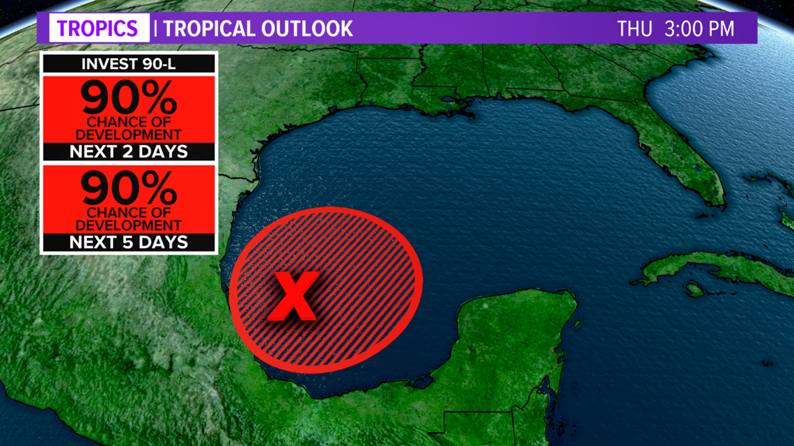 Invest 90-L in the Gulf of Mexico will develop into a Tropical Depression/Storm by the end of the week