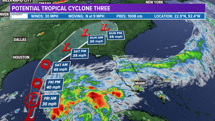 Tropical Storm warning issued for parts of Gulf Coast