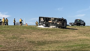 UPDATE: Only minor injuries reported in armored truck rollover crash on HWY 6 in Bryan