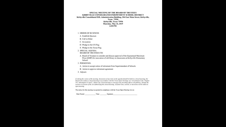 KCISD School Board Agenda for Special Meeting 5/16