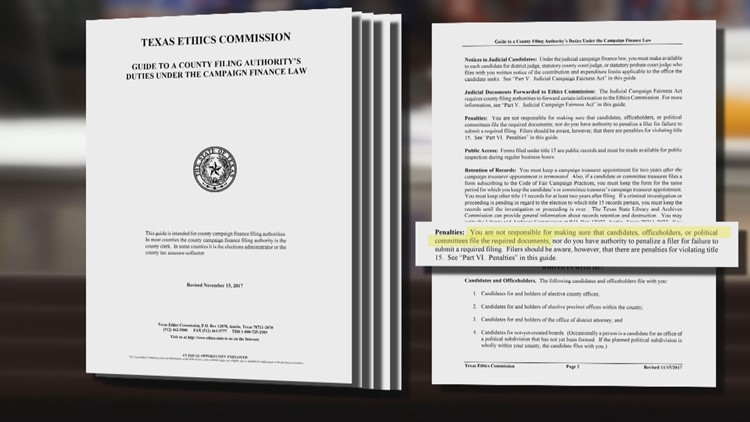 Document advising county election offices from Texas Ethics Commission