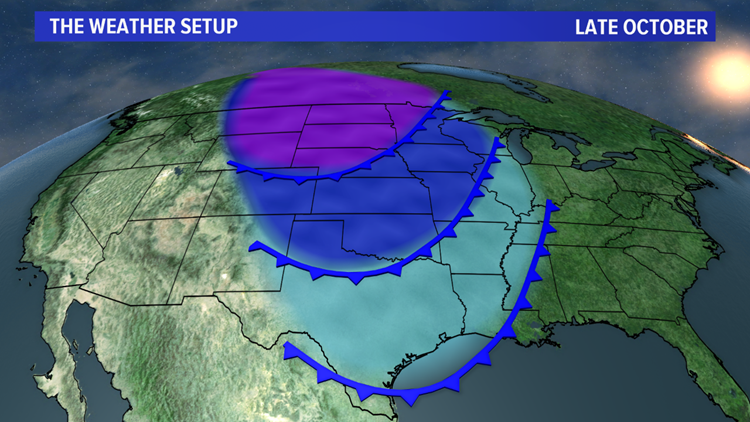 Late-October surface setup: frequent cold fronts