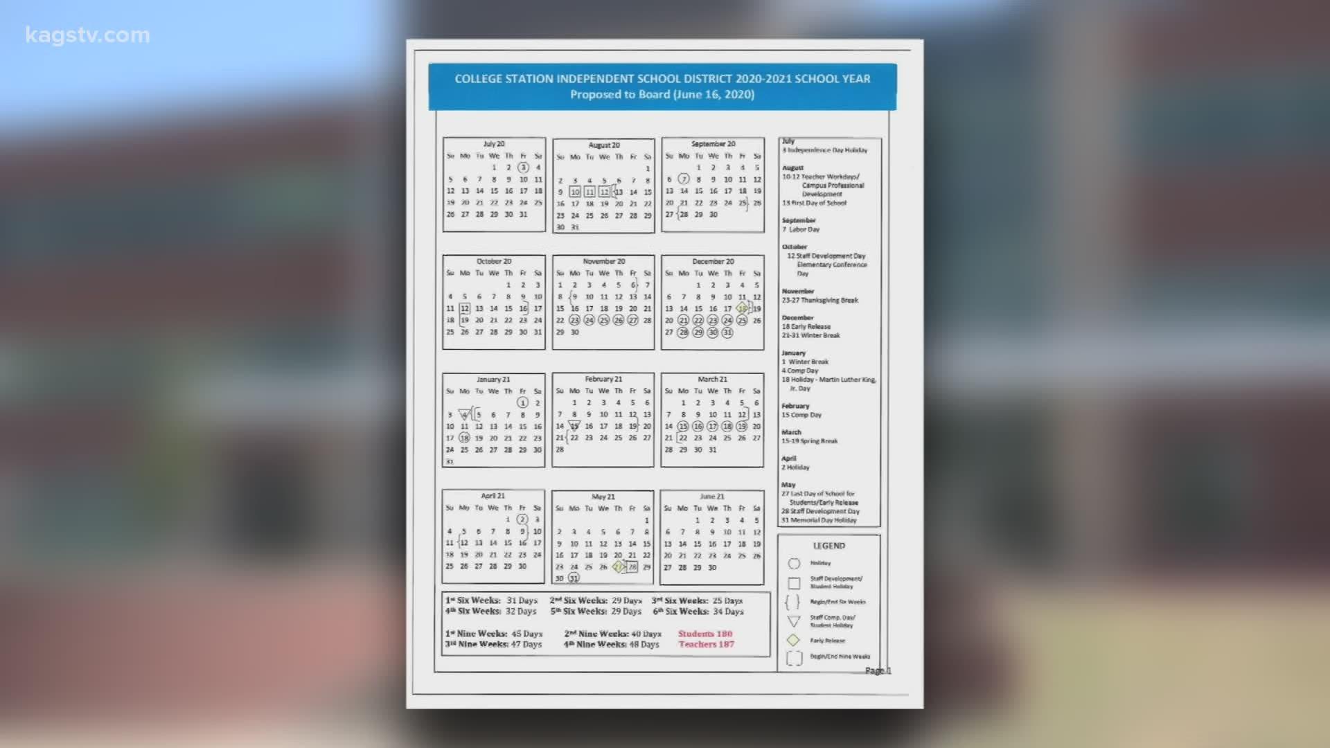College Station ISD revises 2020 2021 calendar | kagstv.com