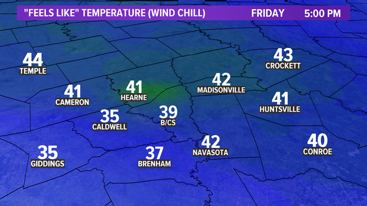 Feels-like temperatures Friday at 5:00 pm