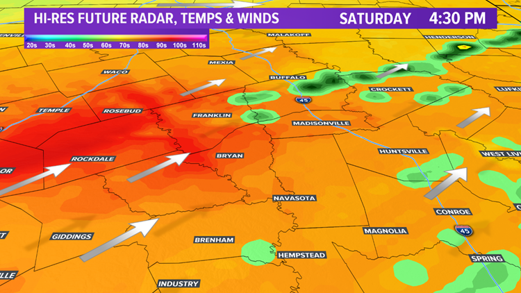 Future radar & temps 4:30 pm Saturday