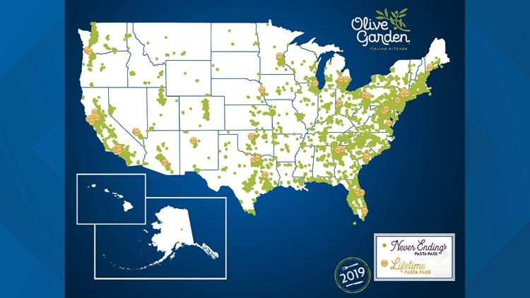 Olive Garden Pasta Passes Map