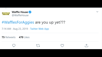 Calling all Aggies and waffle lovers! College Station in top three final cities for visit from Waffle House