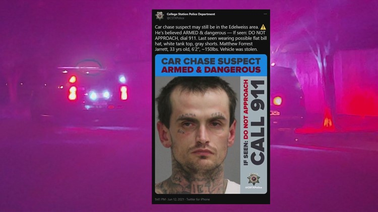 CSPD search for College Station man after multi-county chase