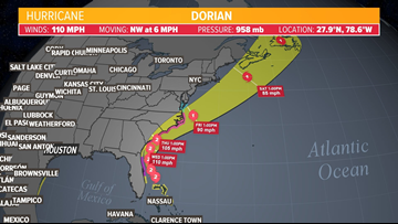 Florida feeling effects of Hurricane Dorian as it continues slow crawl toward US