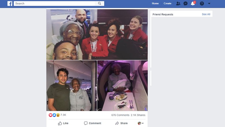 Passenger gives his first-class seat to 88-year-old woman to make her dream come true