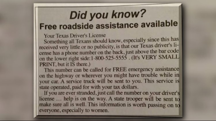 The claim allegedly made on Facebook about DPS roadside assistance