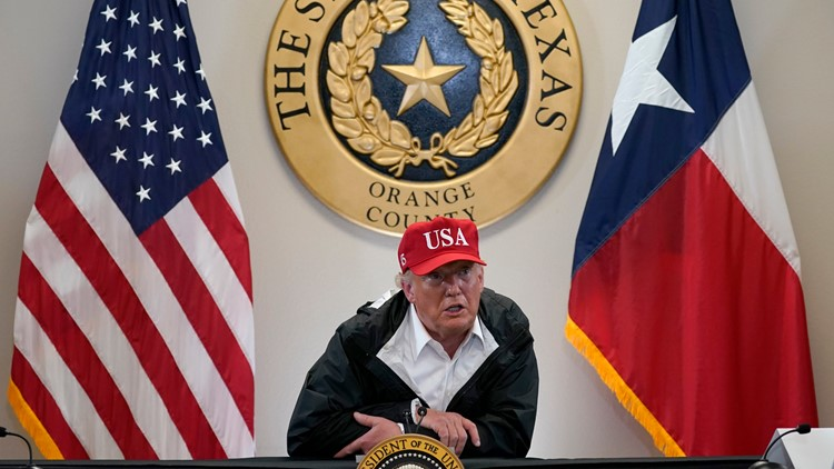 'Got to take care of the people of Texas' | President Trump gets Hurricane Laura recovery update in Orange