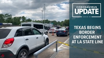 Traffic stalls at Texas-Louisiana border due to COVID-19 checks by DPS