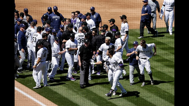 Basebrawl Breaks Out After Luis Perdomo Throws Behind Nolan Arenado